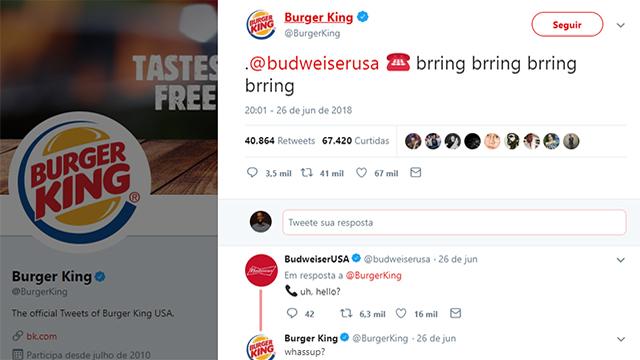 Papo entre Burger King e Budweiser no Twitter recria clássico comercial
