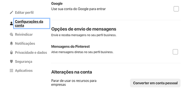 Configurações do Pinterest Business