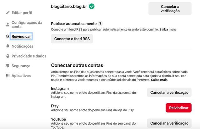 Conectar conta do Instagram no Pinterest